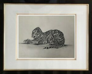 Superb-original-drawing-animal-tiger-art-deco-epoque