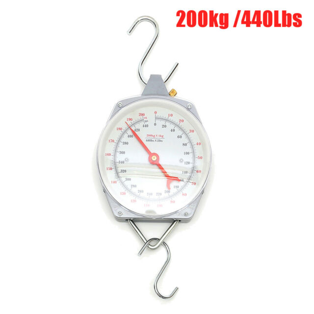 New 200kg Heavy Duty Hanging Weighing Scales with Hook Fishing 440lbs USA STOCK!