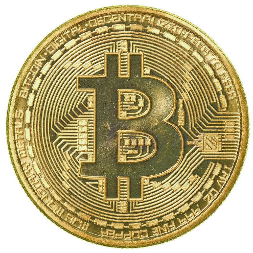 2 x Gold Plated Bitcoin Coin Collectible Gift BTC Coin Art Collection Physical#% 6