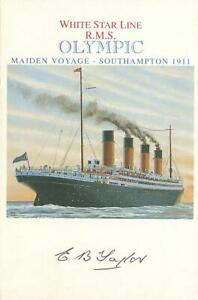 Ltd-Ed-SIGNED-WHITE-STAR-LINE-R-M-S-OLYMPIC-POSTCARD-Sister-ship-to-Titanic
