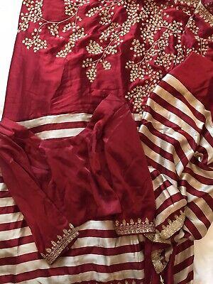 Collezione Qui Donna Con Cintura Rossa Striscia Sari, Con Corrispondenti Camicetta, Circa Taglia 8-mostra Il Titolo Originale