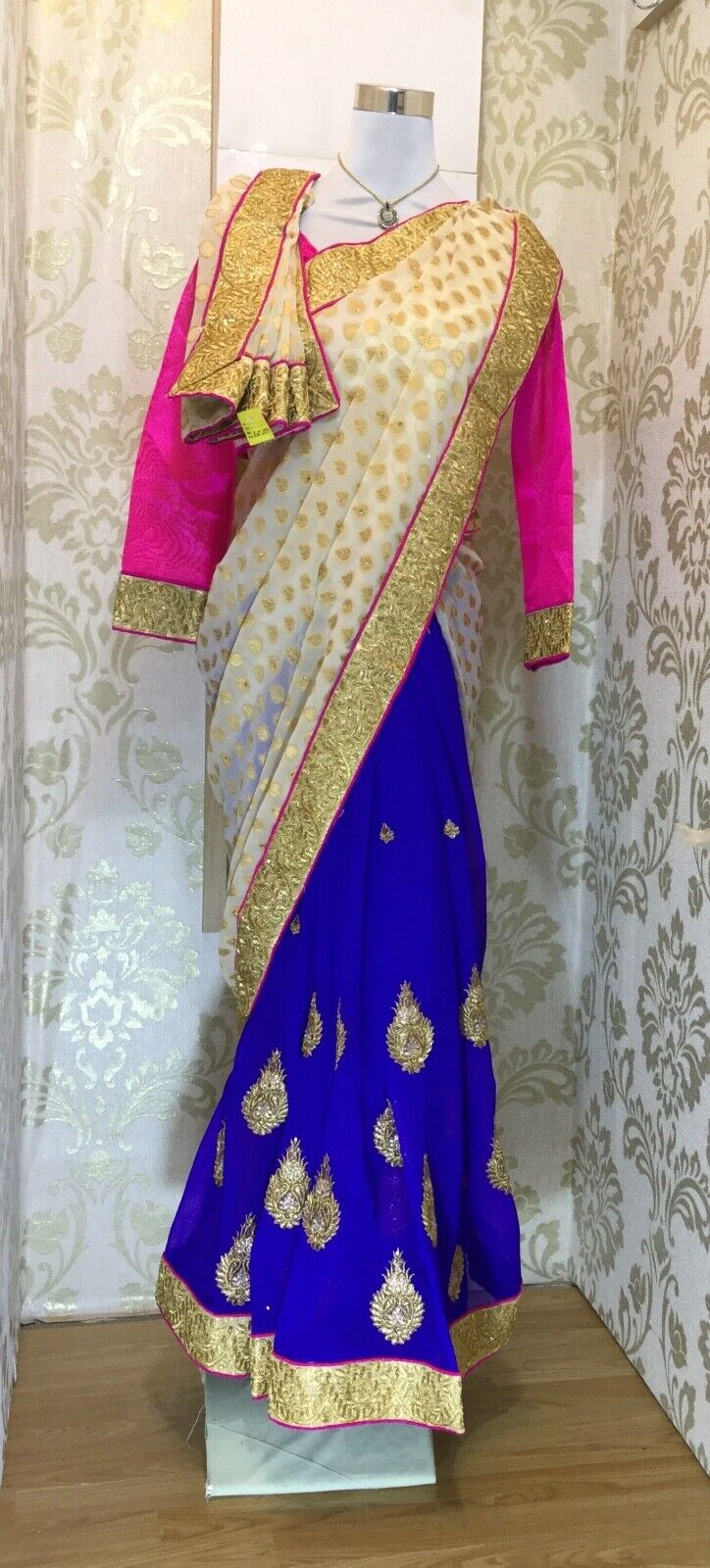 Women's Asian Pink Blue and Gold Saree, South Asian dress outfit