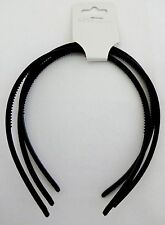 Black thin plastic headbands 3 pieces 1/4 inch wide flexible hair craft supply