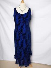 Jacques Vert Dress/Ballgown 14/16 Silk Mix Blue Devore Velvet Evening Cruise