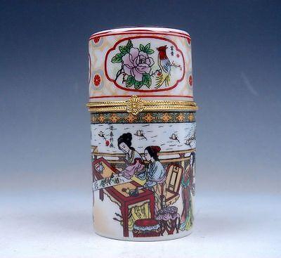 Blue Glazed Famille-Rose Flowers Painted Porcelain Toothpick Holder #110913B3