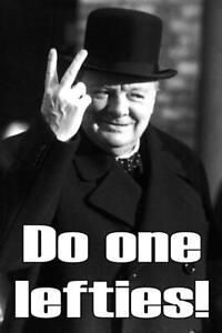 Sir Winston Churchill Two Fingers Fridge Magnet