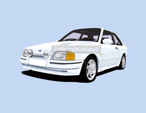 FORD ESCORT RS TURBO S2 FRIDGE MAGNET CHOOSE YOUR CAR COLOUR. 90 SPEC