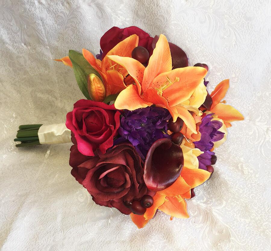 Fall harvest Bridal Bouquet  Calla Lilies Soie Mariage Fleurs Bordeaux Orange