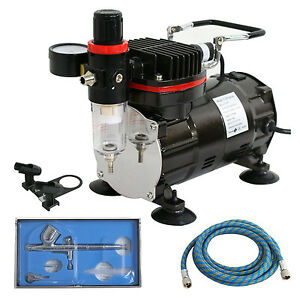 Gravity Feed Airbrush+Compressor Kit Dual-Action Spray Air Brush Set Tattoo Nail