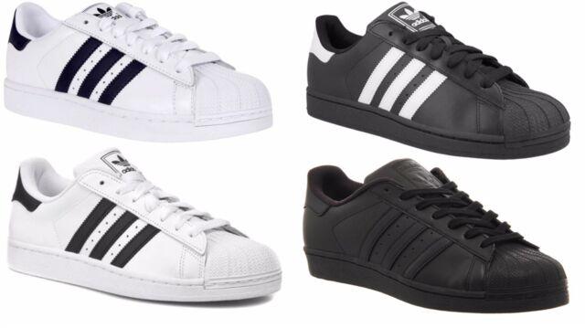 Men Simple adidas Superstar Foundation Shoes Black White