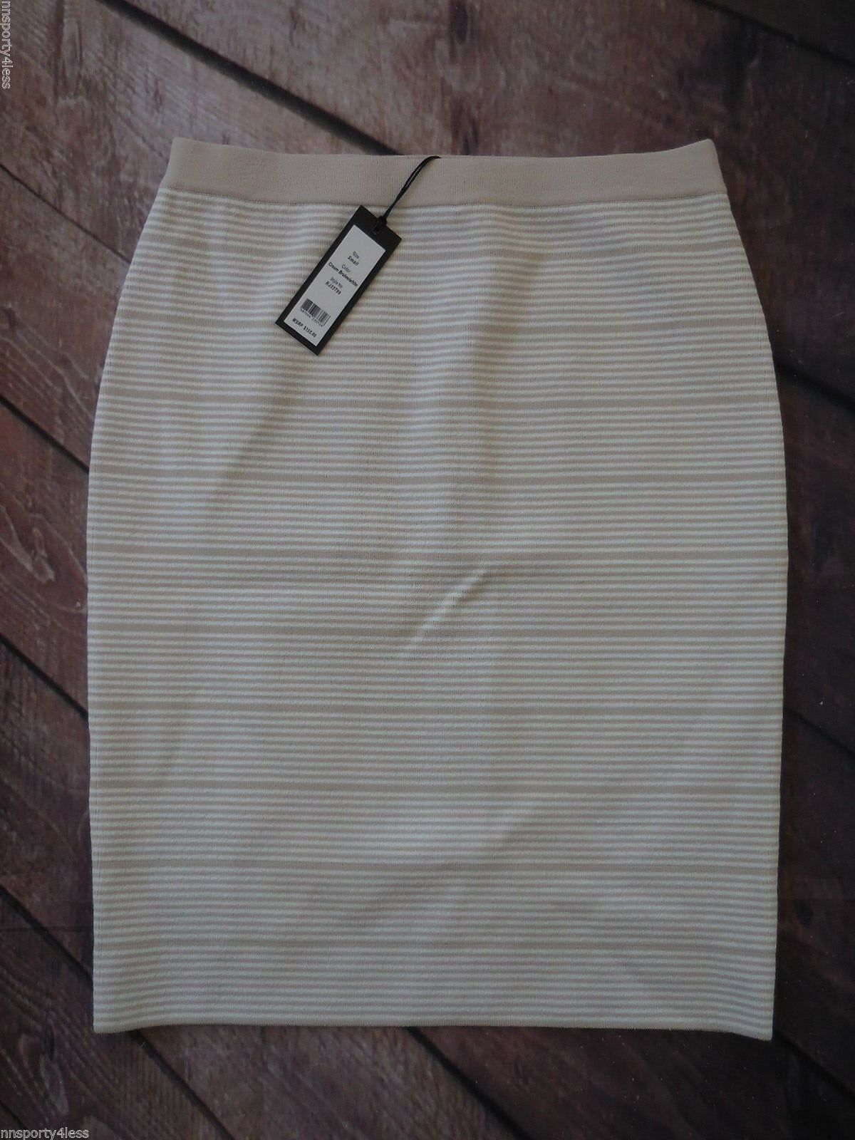 Romeo & Juliet Couture Bandage Stripe Skirt Cream Brulee MSRP   155 Size Small