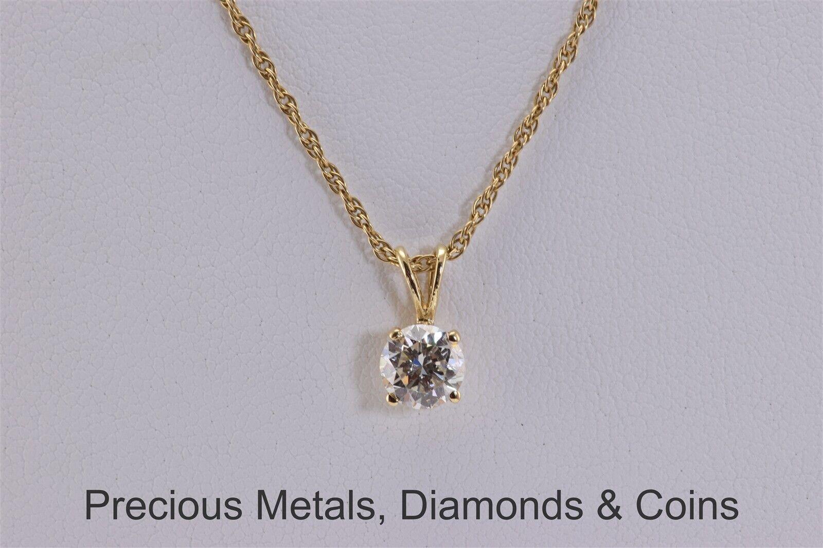 14k Yellow gold 12mm x 6mm .90ct Diamond Solitaire Pendant 18.5  Chain