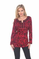 Krista Lee Fever Zebra Group Red Black Embroidered Beaded Tunic Top Animal Print