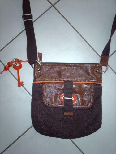 Verni Marron Orange cuir Bandoulière Tissu Fossil Sac wn8BxqI086