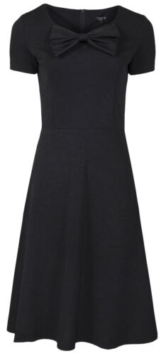 MyMust Short Sleeve Stylish /& Elegant Black Dress With Bow Detail