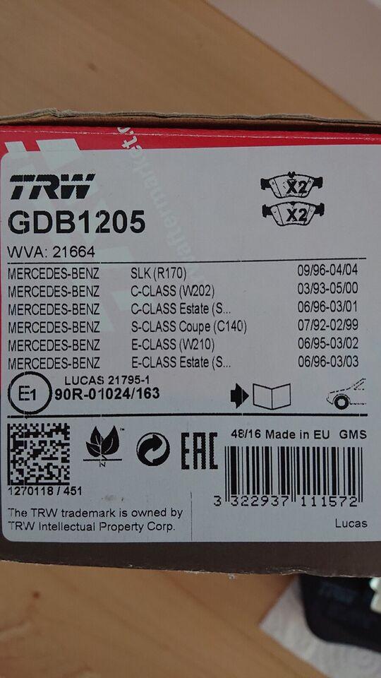 Andre reservedele, Bremseklodser GDB1205, Mercedes SLK