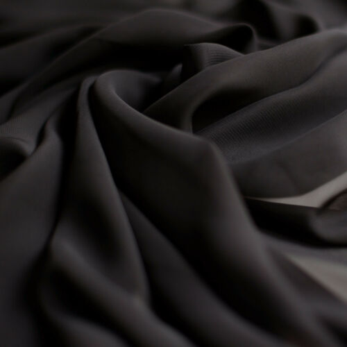 Plain Black Chiffon Plain Woven Dress Sheer Fabric 150cm wide per metre