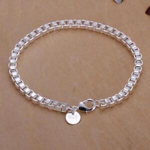 beautiful-Fashion-silver-Plated-4mm-chain-pretty-bracelet-WOMEN-MEN-jewelry-new