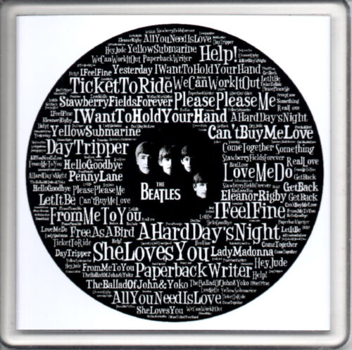 "Acrylic Beer Drink Mat Coaster Word Art The Beatles Song Titles 4/"" x 4/"" NEW"