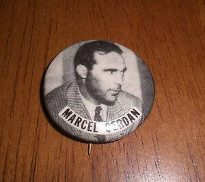 MARCEL CERDAN BOXING PIN BACK BUTTON - VINTAGE