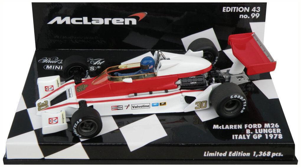 Minichamps McLaren Ford M26  Italian GP 1978 - Brett Lunger 1 43 Scale  meilleur service