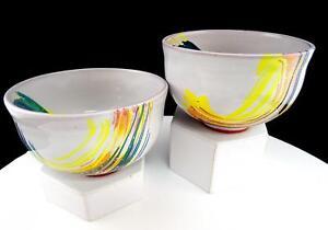 Art-Ceramica-Firmado-2-Pieza-Rueda-Lanzado-Verde-Amarillo-Naranja-3-034-Arroz-Bols