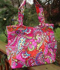 VERA BRADLEY Pleated Tote Bag Large Purse Pink Swirls Shopping Travel College
