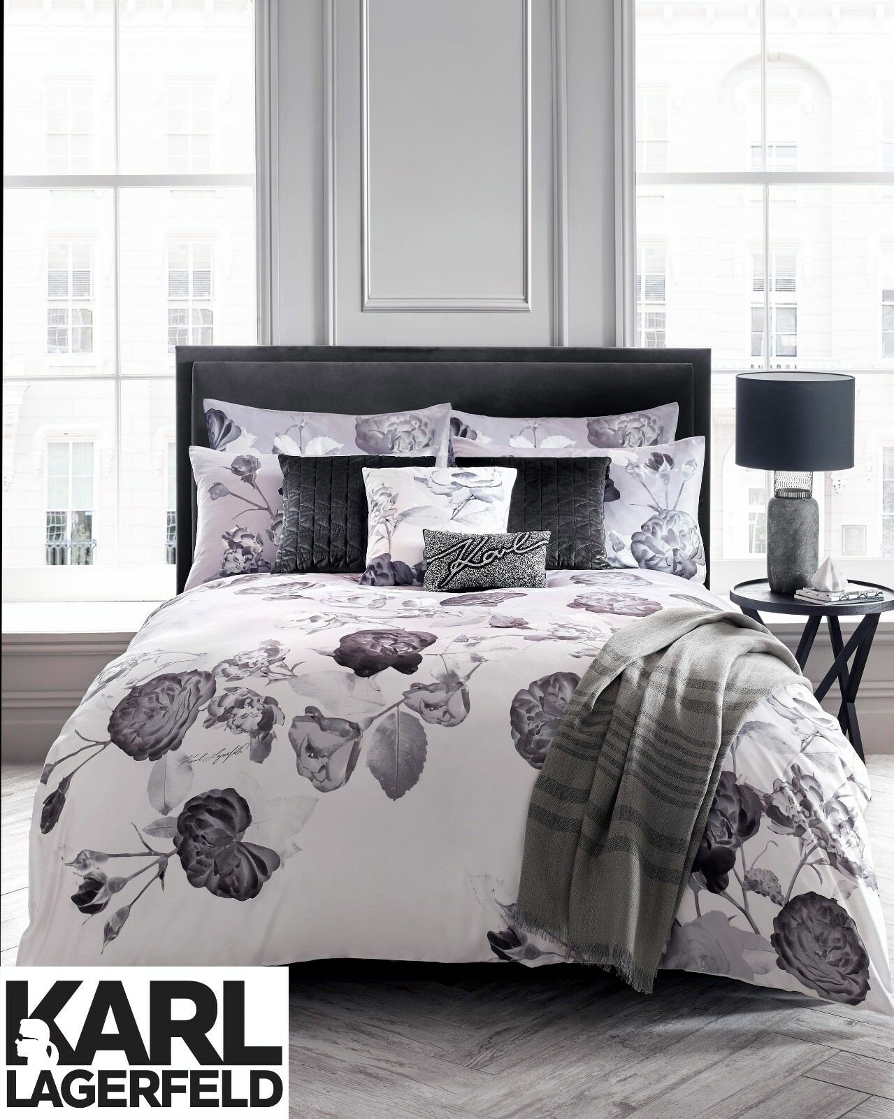 Karl Lagerfeld Designer SENNA FLORAL Printed 100% Cotton Soft Bedding Bed Linen