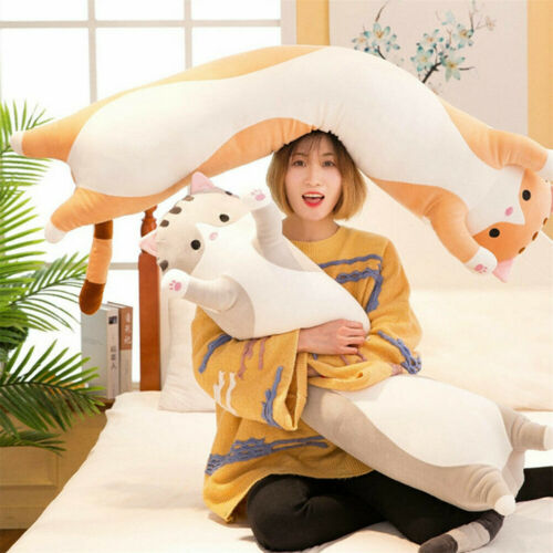 Plush Long Cat Doll Soft Stuffed Kitten Pillow Sofa ids Sleeping Pillow Home