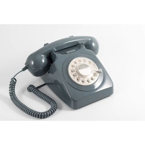 GPO 746 Telephone Retro Vintage Style Desk Phone Working Rotary Dial Grey