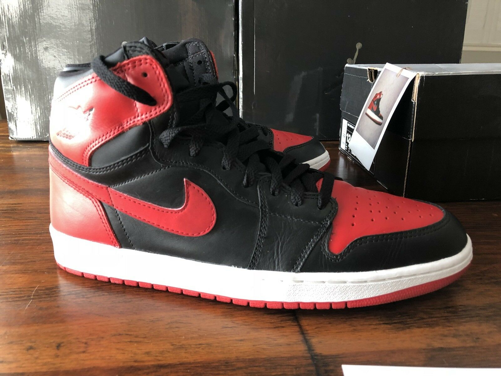 2001 air jordan 1 Bred with Box and card Off WHITE sz 12 1 2 3 4