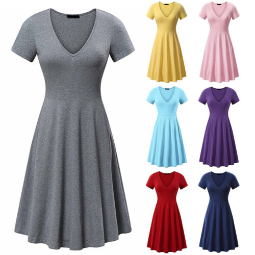Women Plain V Neck A-line Swing Skater Dress Fit and Flare Party Casual Dresses