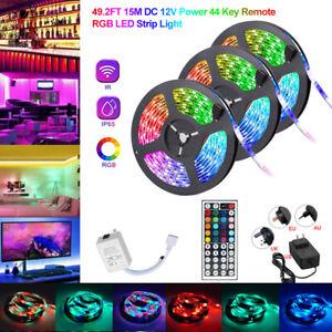 15M//10M//5M SMD RGB 3528 LED Strip Light 44 Key Remote Controller 12V Power Kit