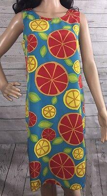 Colorful Retro Dress Medium Citrus Fruit Print Grapefruit Lemon Unique Vintage