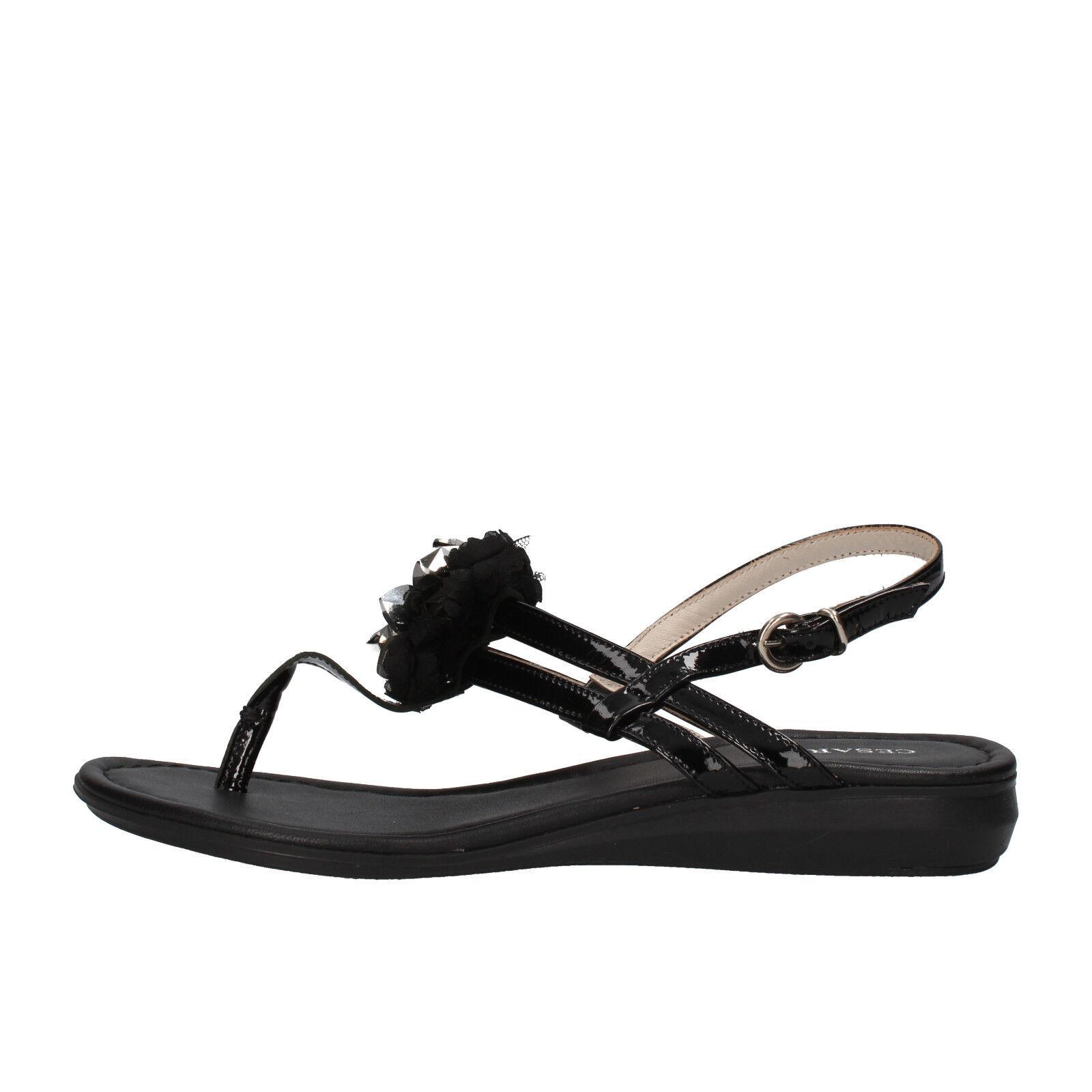scarpe donna CESARE P. 37 sandali nero vernice AF933