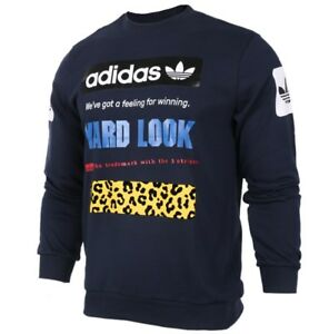 met Nieuw capuchon Adidas Sweater Sweatshirt Cf5391 Blue Graphic Crew Originals Sport WSwxqHZ