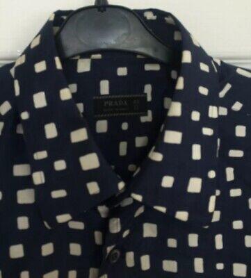 Realistico Da Uomo Prada Vintage Silk Camicia Blu Taglia 43 17 Pollici- Acquisto Speciale