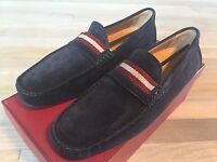 550$ Bally Classic Navy Blue Suede Driver Size Us 10 Made In Italy