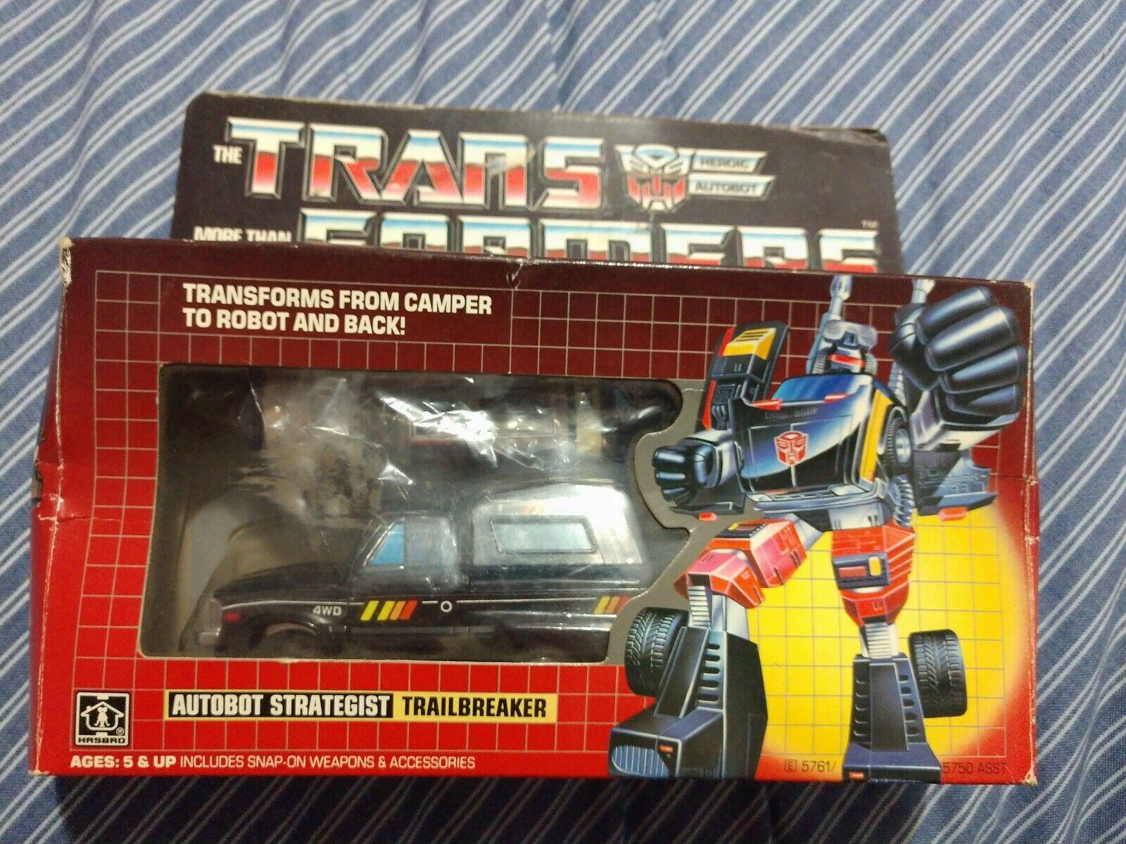 Transformers G1 Gen 1 Trailbreaker preRUB RARO 1982 giocattolo 1984 SCATOLA COMPLETO