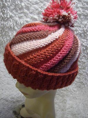 /'Loganberry Swirl/' Ladies//Mens Hat Easy Knitting Pattern