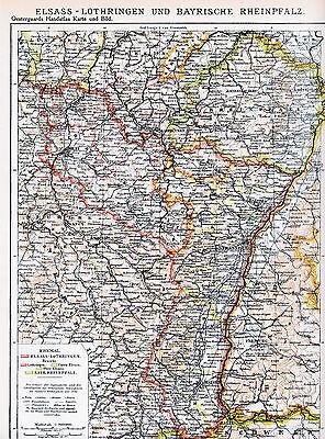 Ehrlichkeit Elsass-lothringen Bay. Pfalz 1927 Orig. Atlas-karte Altkirch Metz Kaiserslautern