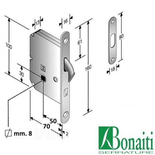 Kit porta scorrevole scomparsa serratura con chiave o nottolino cromo satinato