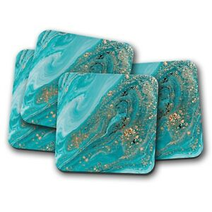 4-Set-Turquoise-Marble-Coaster-Gold-Glitter-Ooze-Rock-Stone-Fun-Gift-15196