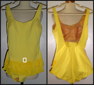 VINTAGE-60S-SKIRTED-FAUX-BELT-SWIMMING-COSTUME-COSSIE-UK-14-MOD-GOGO