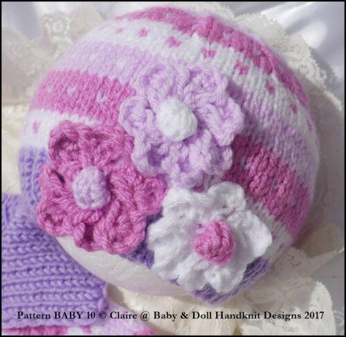 """Babydoll Handknit Diseños Tejer patrón nuevo Bebé Bebé Muñeca Set 16-22/""""//0-3M+"""