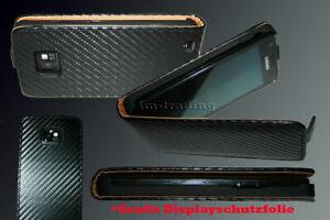 Handy-Tasche-fuer-Samsung-Galaxy-S2-i9100-CARBON