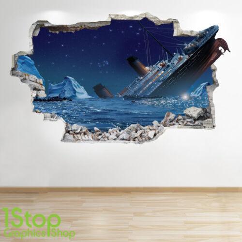 Titanic Autocollant Mural 3D Look-Chambre à Coucher Lounge plage bateau applique murale Z554