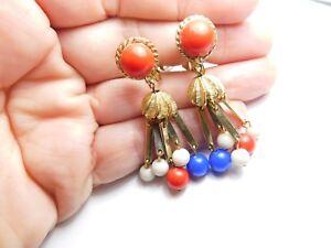 Patriotic-Retro-Red-White-Blue-Bead-Dangle-Clip-On-Earrings-Vintage