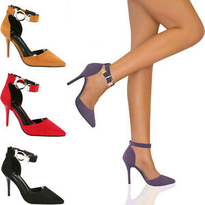 Ladies-Women-High-heels-Pointy-Toe-Stiletto-Sandals-Ankle-Strap-Court-Shoes-Size