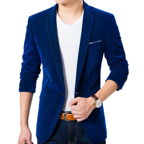 Hot Men Long Sleeve Lapel Collar Button Pocket Decor Velvet Slim Blazer Jacket